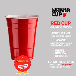 Red Warna Cup - 300 Copos - Vermelho Americano - 475ml
