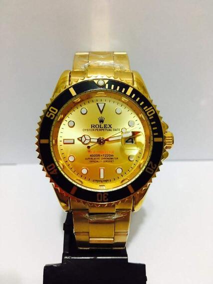 Relógio Submariner Dourado Unissex Novo Com Caixa