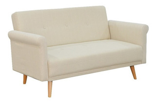 Sofa Moderno Para Sala Tapizado 2 Puestos Mompox Blanco