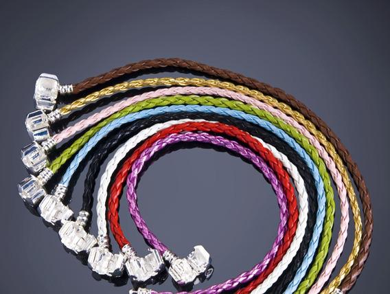 Pulseira Bracelete Pandora 20 Cm Couro