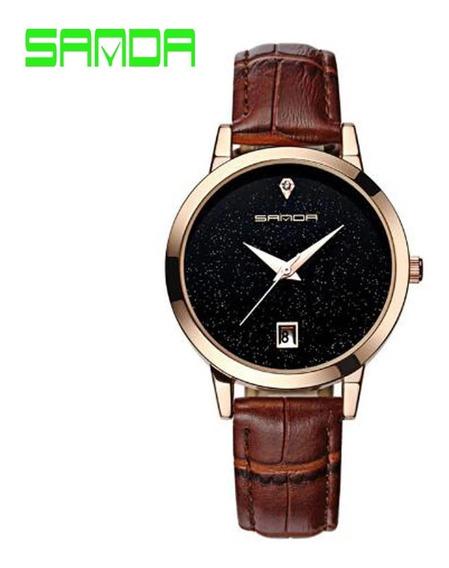 Relógio Feminino Sanda Dourado Pulseira De Couro