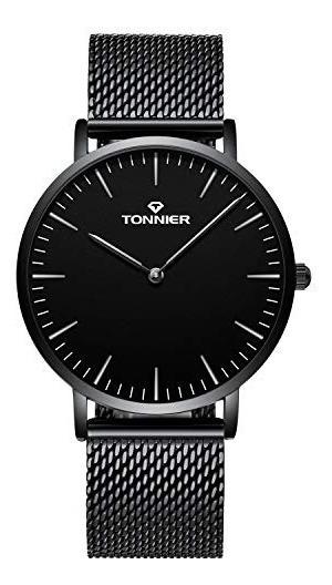 Tonnier, Reloj De Cuarzo Con Pulsera De Malla Delgada De Ac