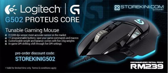 Mouse Logitech G502 Proteus 12.200dpi 11 Botoes