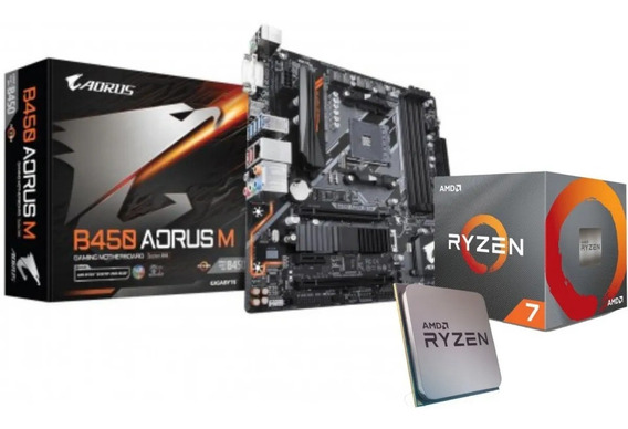 Kit Amd Ryzen 7 3700x 36mb 3.6 4.4ghz Mb B450 Aorus M