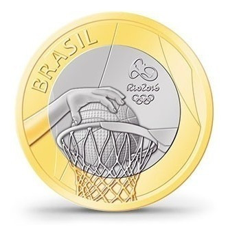 Moeda,1 Real,comemorativa,olimpíadas Rio,esporte Basquete
