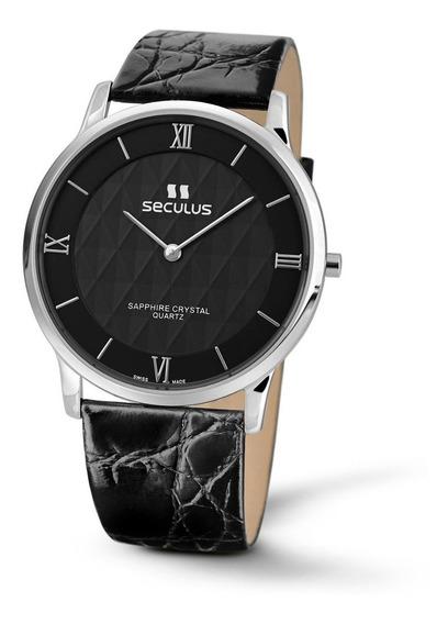 Reloj Seculus 4455.1.106 Lb Ss Br Para Caballero Correa De Piel