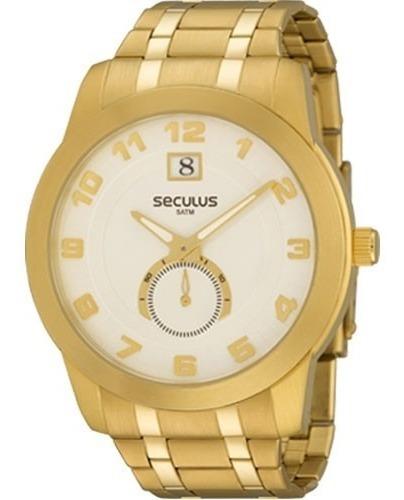 Relógio Seculus Masculino Dourado