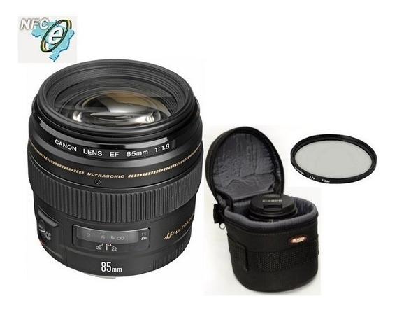 Lente Canon Ef 85mm F/1.8 Usm + Bolsa+uv 58mm Nota Fiscal