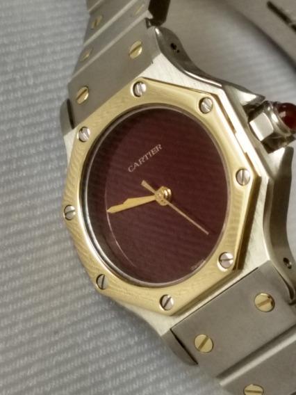 Reloj Cartier Santos Acero Y Oro Para Dama Automático