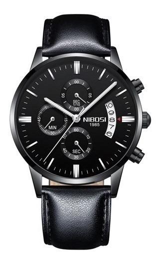 Relógio Nibosi Black Preto Couro Luxo Cronometro + Brinde