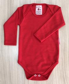 Body Bebê - Suedine (kit C/3) - Liso - Manga Longa Vermelho