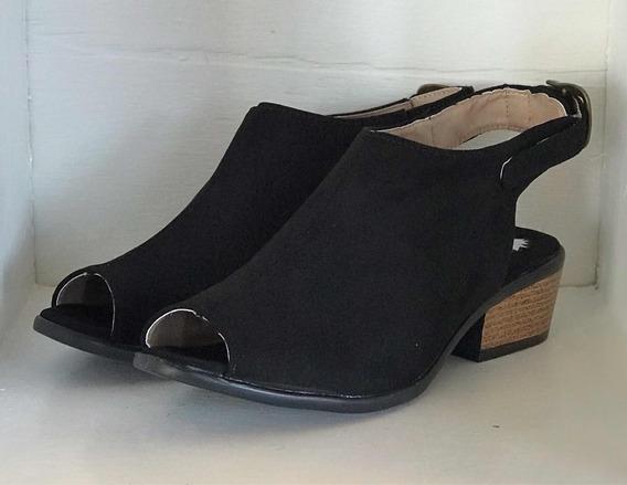 Zapato Estilo Botín #6 Tacón Bajo Negro Durazno Dama