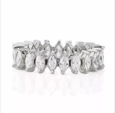 Aliança De Pedras Navetes Cristal Florenzza Em Prata 950