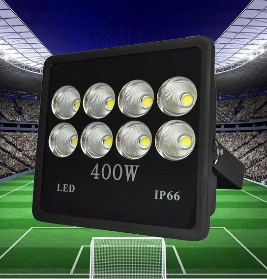 Refletor Led 400w Mega Forte Para Campo De Futebol Quadras Área Aberta Luz Branco Frio 6000k 36.000 Lúmens 8 Led Bivolt