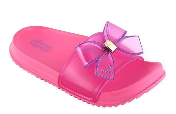 Chinelo Slide Infantil Feminino Plugt - Laço Pink