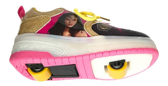 Tenis Wonder Woman Mujer Maravilla Patines Luces Led Ruedas