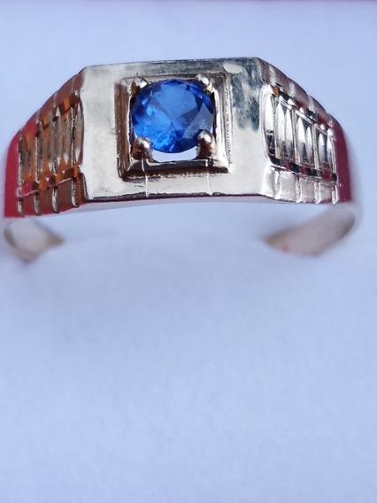 Anillo De Oro De 10 Kilates Para Caballero Circonia Azul