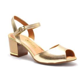 Sandália Feminina Envernizada Dourada Dakota