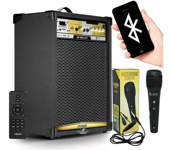 Caixa Amplificada Frahm Mf600 App Bluetooth Usb + Microfone