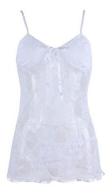 Coqueto Y Elegante Babydoll Transparente Color Blanco