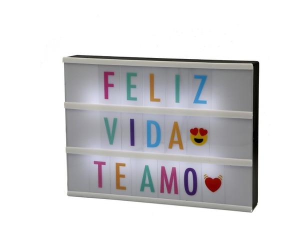Cartel Luminoso Pizarra Led Light Box Cine 20x30x5 Emojis