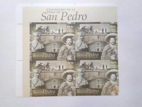 Imagen 1 de 1 de Block 4 Timbres Centenario Toma De San Pedro Pancho Villa 14