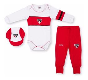 Conjunto Longo Bebê São Paulo Fc Body Com Boné