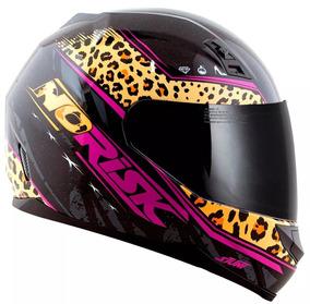 Capacete Feminino Norisk Ff391 Beauty Preto/jaguar
