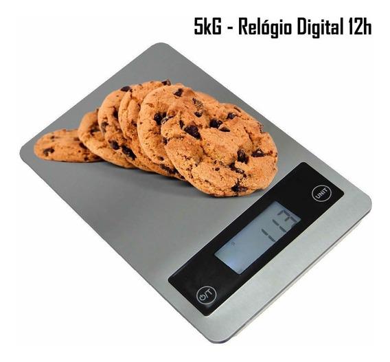 Balança Digital De Precisão Cozinha 5 Kg Relógio Cbrn02597