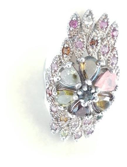 Magnífico Anel Prata 925 Mistura De Pedras Preciosas Lindo!!