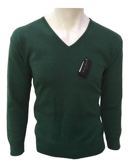 Suéter Verde Militar Cuello V Hombre