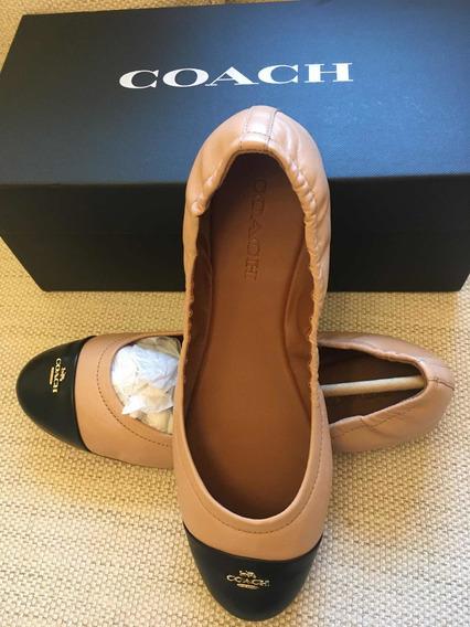 Zapatos Coach Dama Flat Nude Y Negro Y Logo Dorado Ballet