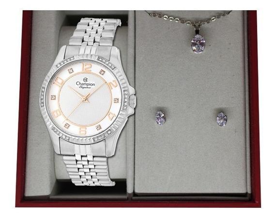 Relógio Champion Feminino Prateado+ Kit Colar E Brinco Kit05