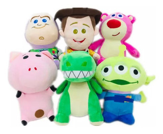 Pack Peluches Toy Story X3 Woody Buzz Forky Jessie Dino Rex