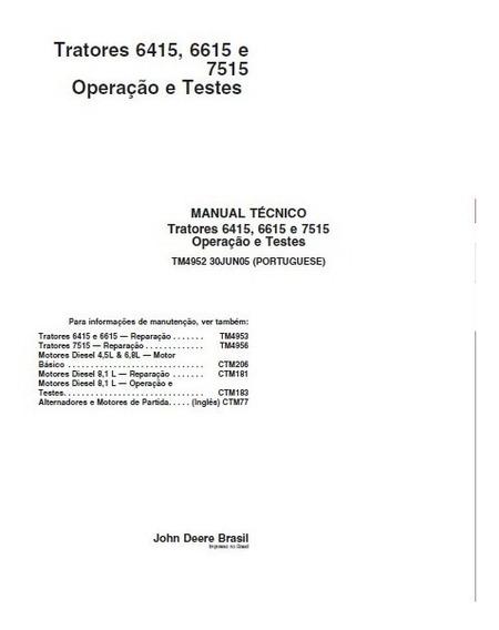 Manual Técnico Tratores Jd 6415, 6615 E 7515