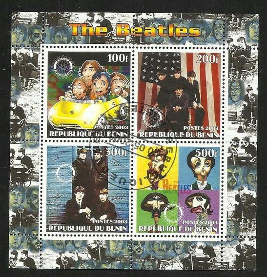 Benin Bloque 4 Estampillas Musica Rock The Beatles J. Lennon