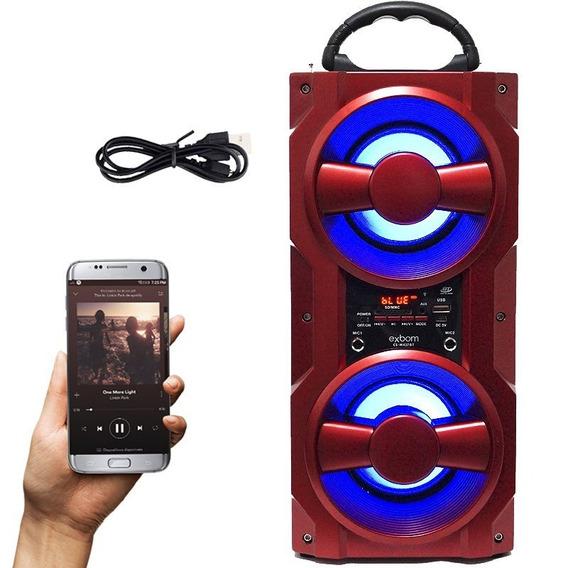 Caixa Som Amplificada10w Portátil Bateria Bluetooth Vermelha