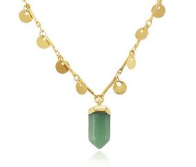 Colar Folheado Ouro 18k Medalha Pedra Natural Quartzo Verde