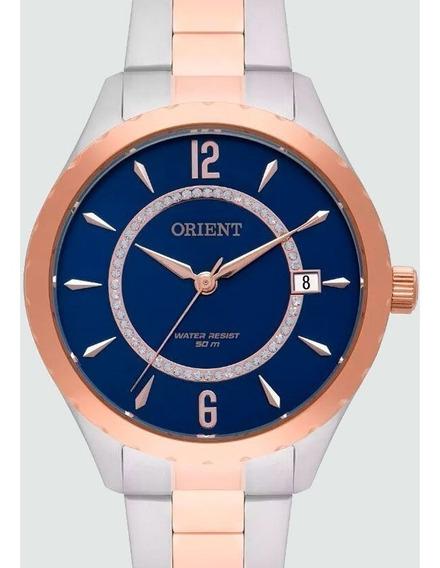 Relogio Orient Feminino Prata Com Rose Gold - Ftss1118 D2sr