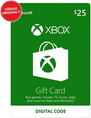 Xbox Live Tarjeta 25 Dolares Gift Card / Código Original