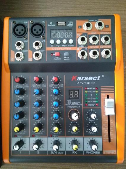 Mesa De Som - 4 Canais Com Efeito, Bluetooth, Usb E Phantom.