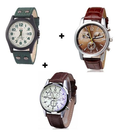 Kit Com 3 Relógios Masculinos Esportivos Preço De Revenda