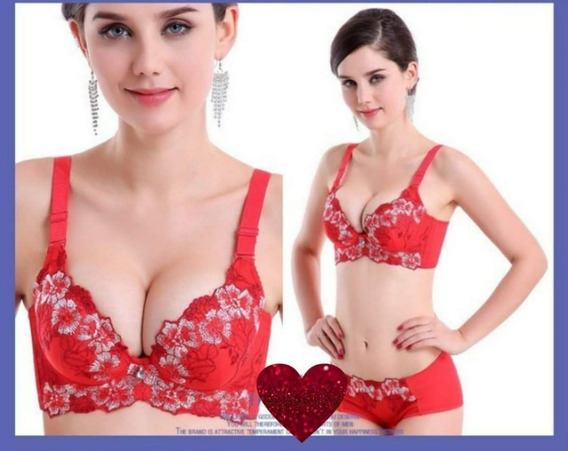 Hermoso Coordinado Levanta Busto Brasier Push Up Bordado Y Panty Lenceria