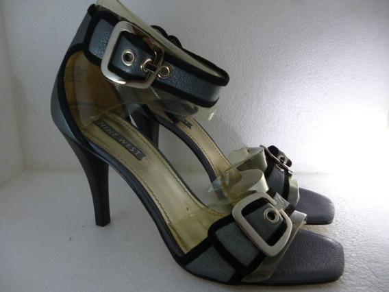 L Zapato Zapatilla Tacón Nine West Kameron Piel Gris Oferta
