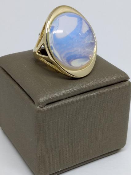 Anel Folheado Ouro 18 Feminino Pedra Preta Da Lua Oval Joia C368