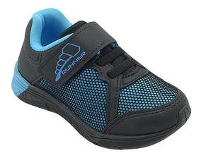 Tênis Infantil Masculino Menino Azul E Preto Pé Com Pé