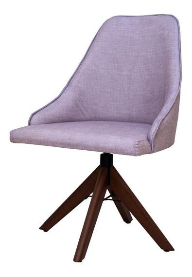 Kit 2 Cadeiras Linda Base Giratoria Sala De Jantar Linho