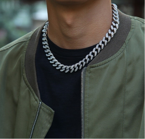 Cadena Collar Tipo Cubana Adiamantada Hip Hop, Trap
