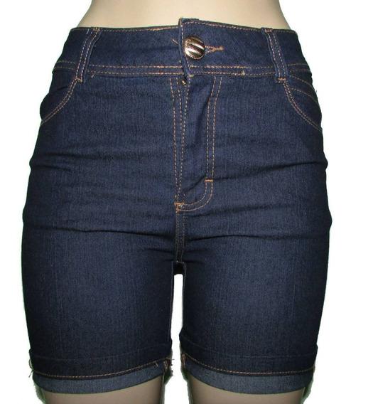 Bermuda Jeans Feminina Cintura Alta Azul Kit Com 3 Unidades