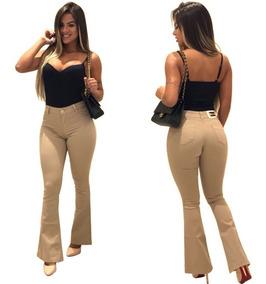 Calça Jeans Roupas Feminina Flare Color Estilo Pitbull Moda